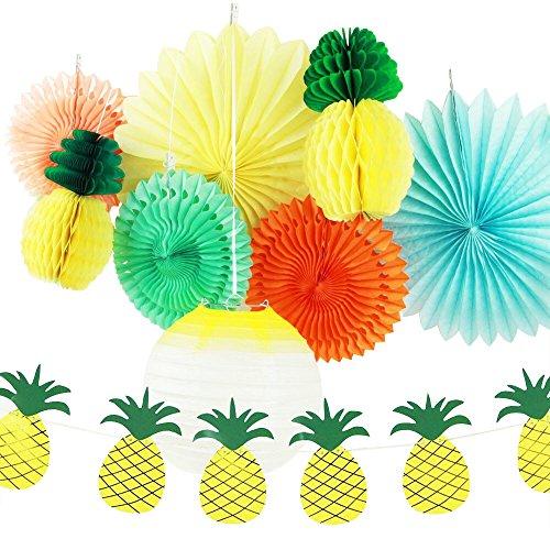 SUNBEAUTY Pack of 9 Yellow Orange Green Tissue Paper Decorative Kit Luau Party Summer Beach Photo Backdrop Decoration (Style 1)
