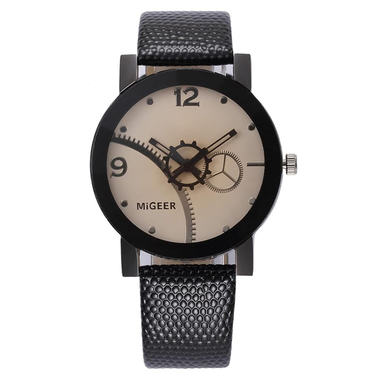 オスエレガントな腕時計、Sinma Simple Gearダイヤル腕時計レザーアナログブレスレットクォーツ腕時計 ブラウン B072HW9R9Cブラウン