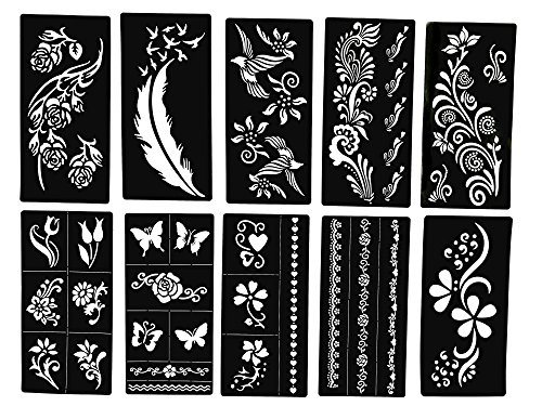 Tattoo Stencils - Butterfly and Flowers - New Henna Designs- Set of 10 by Lady Seven
