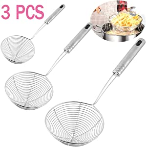 Set of 3 Stainless Steel Skimmer Spider Strainer,Wire Skimmer Spoon,Strainer Ladle with Handle for Kitchen Deep Fryer,Pasta,Spaghetti,Noodle(5 Inches,6 Inches,7 Inches)