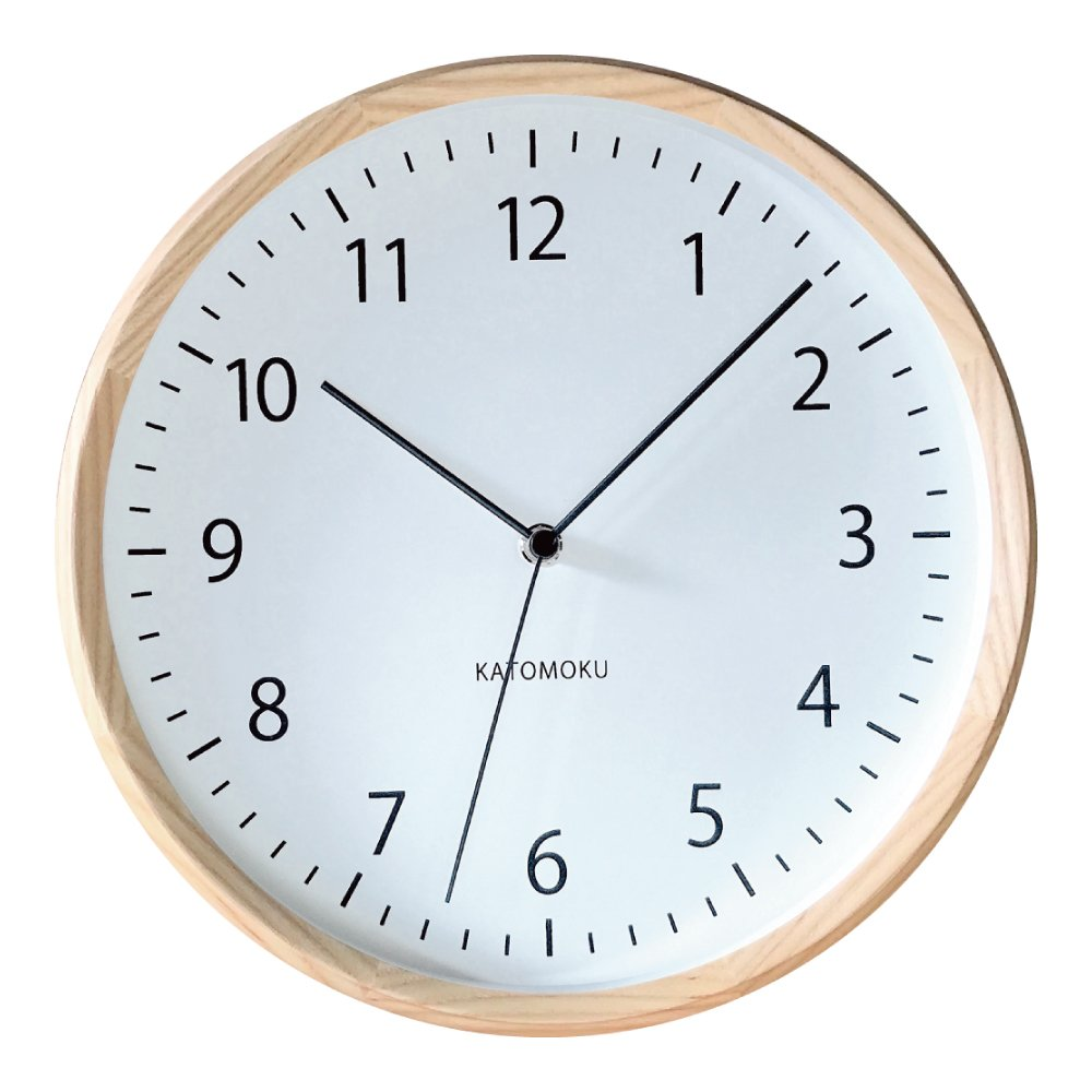 KATOMOKU muku round wall clock 4 ナチュラル 電波時計 連続秒針ムーブメント km-57NRC φ306mm B0789H77FP