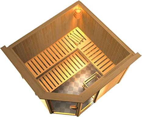 konifera Sauna Sofia, 245/210/202 cm, 68 mm, de 9 kW de Bio Combi Horno ext. Control + corona de techo de 9 kW de Bio de horno + techo combinada Corona: Amazon.es: Hogar