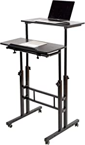 SIDUCAL Mobile Standing Desk, Rolling Standing Desk Laptop Cart on Wheels, Adjustable Table Computer Workstation Home Office for Stand Up, Black