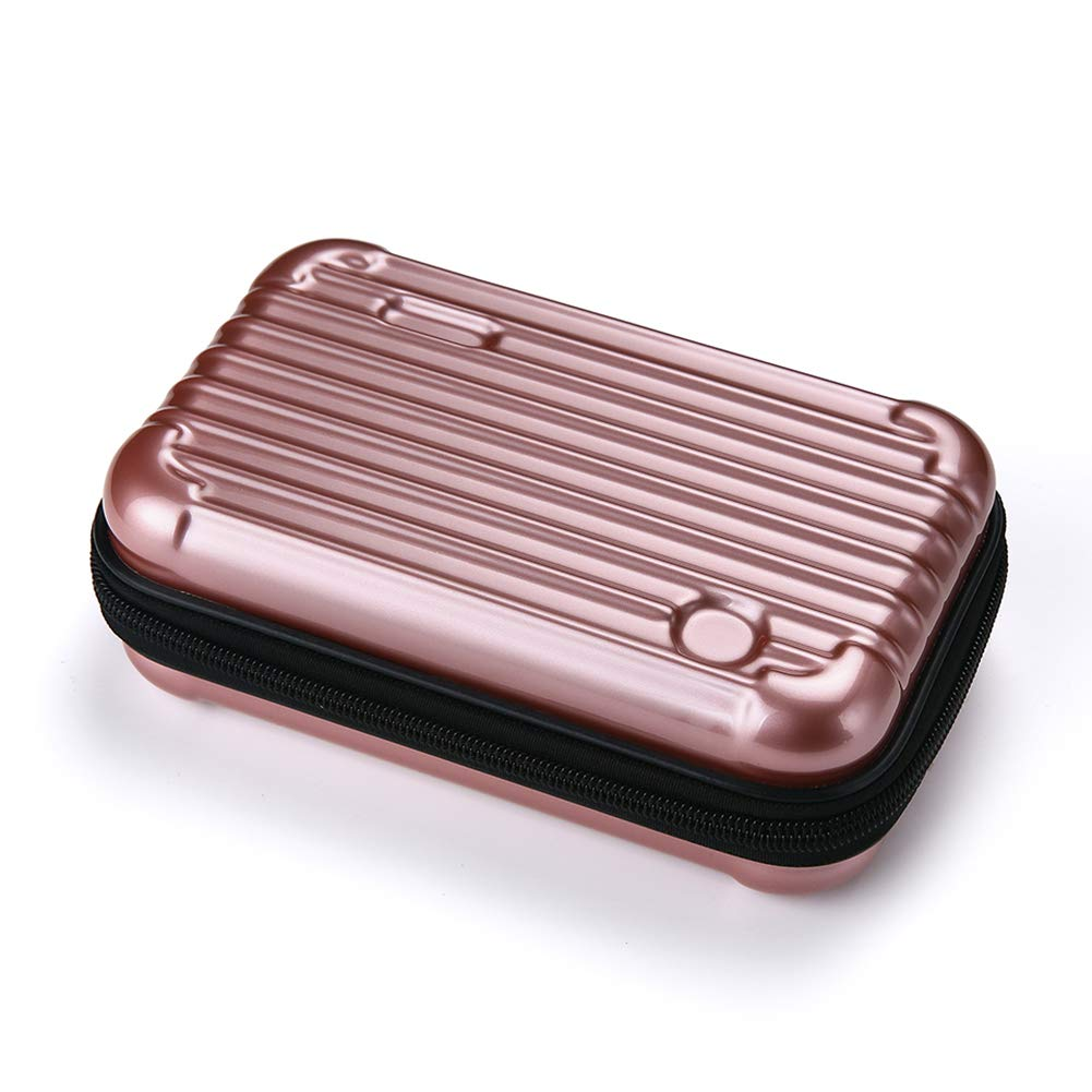 Makeup Bag Pouch Portable Cosmetic Bag Multifunction Hard Case Organizer Bag for Daily Necessities, On-The-Go Travel Gadget Organizer Unisex (PINK)
