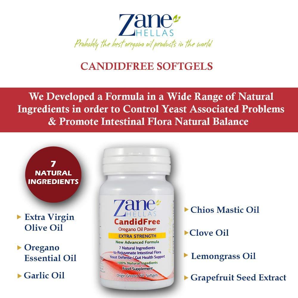 Zane Hellas CandidFree Cápsulas de gel. 100% Fórmula Natural. Defensa de Levadura Soporte para la Salud Intestinal. Ayuda a la Flora Intestinal.