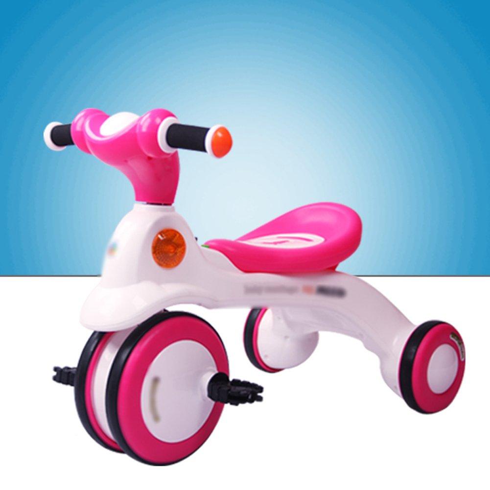 赤ちゃん三輪車ペダルの車アンチピンチの高さのシート3-6歳の赤ちゃんのキャリッジ B07DXK1DYP  ピンク ぴんく