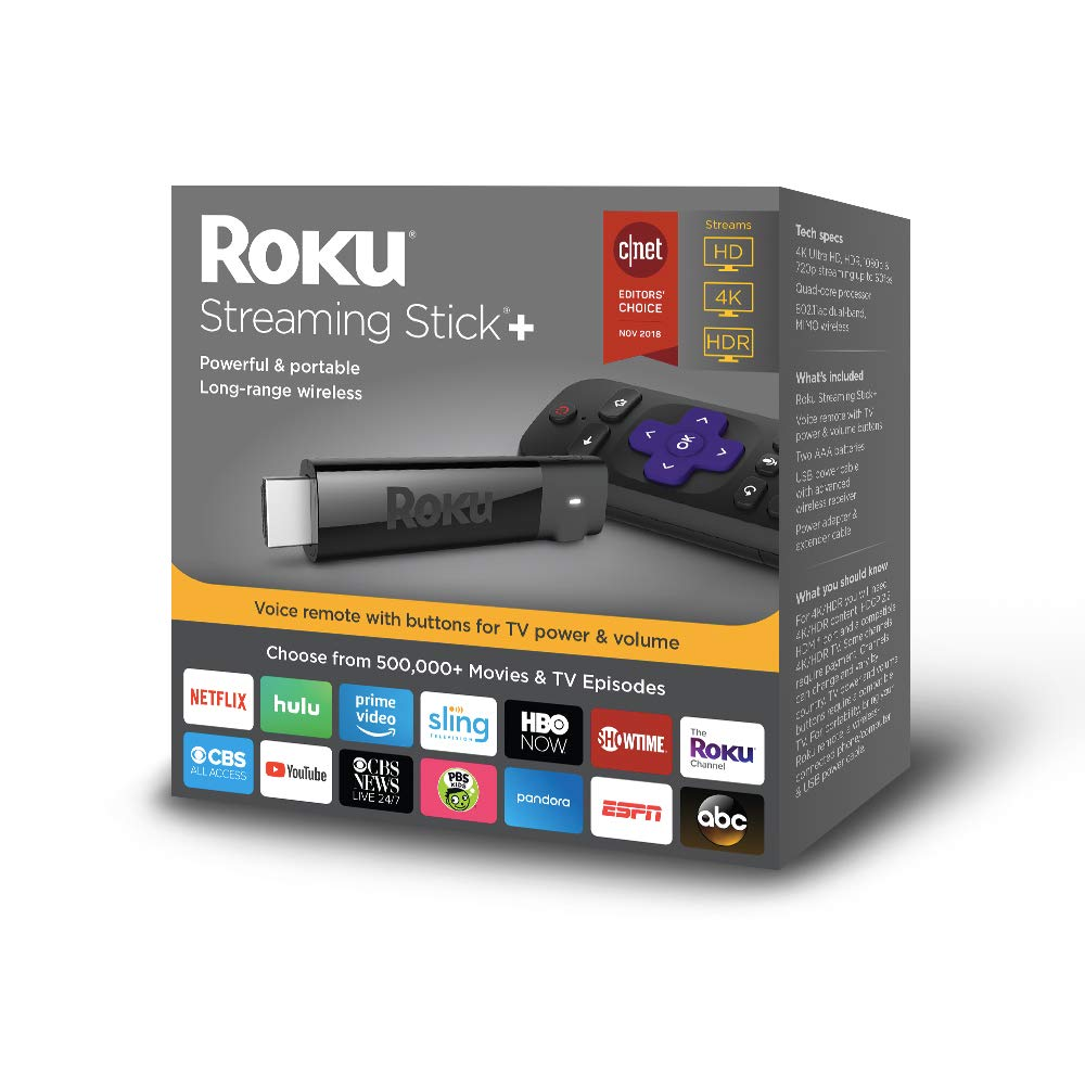 Roku Streaming Stick+ | HD/4K/HDR Streaming Device with Long-range Wireless and Voice Remote with TV Power and Volume by Roku