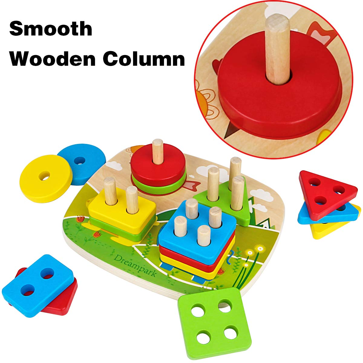 Wooden Shape Color Recognition Preschool Stack and Sort Geometric Board Blocks for Kids Children Non-Toxic Dreampark Educational Toddler Toys for Boys Girls Age 1 2 3 4 and Up