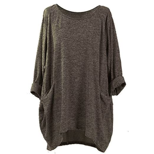 Inverlee Womens Long Sleeve O Neck Pocket T Shirts Loose Casual Blouses (S,Coffee