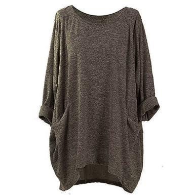 Ulanda Womens Oversized T-Shirt Blouse Round Neck Batwing Sleeve Loose Casual Tunic Tops