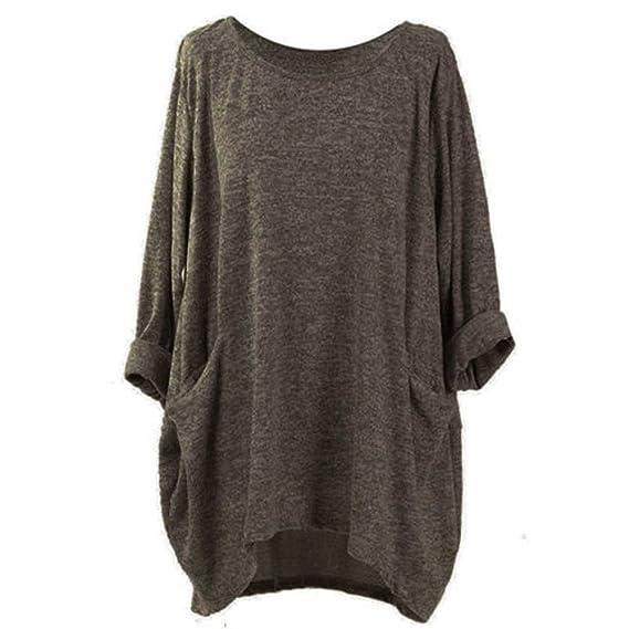 LANSKIRT_Ropa de mujer Camisetas Mujer, Moda Manga Larga Suelto Color sólido Informal O Cuello Bolsillo