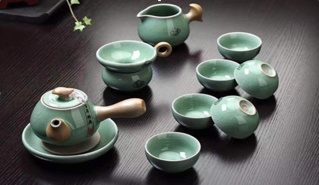BW 11 Piece Chinese Traditional Porcelain Kung Fu Tea Set Ge Yao Green