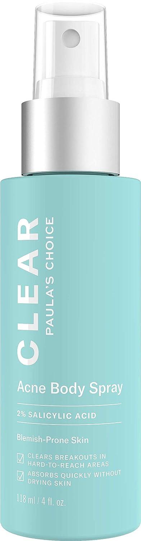 Paula's Choice-CLEAR Back and Body Acne Spray-w/2% Salicylic Acid-Leave-On Exfoliant, 4 Ounce Bottle Acne Treatment for the Body Paula' s Choice