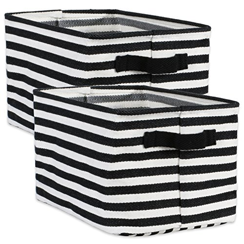 DII Cabana Stripe Collapsible Waterproof Coated Anti-mold Cotton Rectangle Basket Bin, Perfect For Laundry Room, Bedroom, Nursery, Dorm, Closet, and Home Organization, Set of 2 Small - Black by DII