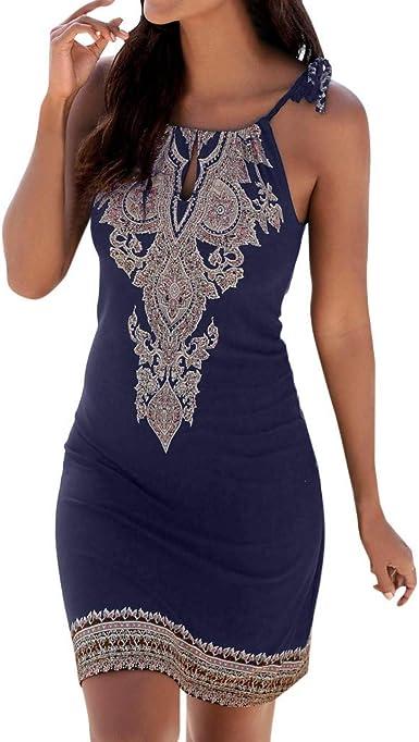 AIFGR Falda de señora Damas Cuello Halter Estampado Boho Vestido sin Mangas en la Playa Vestido de cóctel Vestido de Noche(Azul, XXL): Amazon.es: Ropa y accesorios