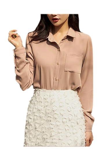 f03db639 ARJOSA Women's Pocket Button-Down Long Sleeve Casual Dress Shirt (Small,  Beige)