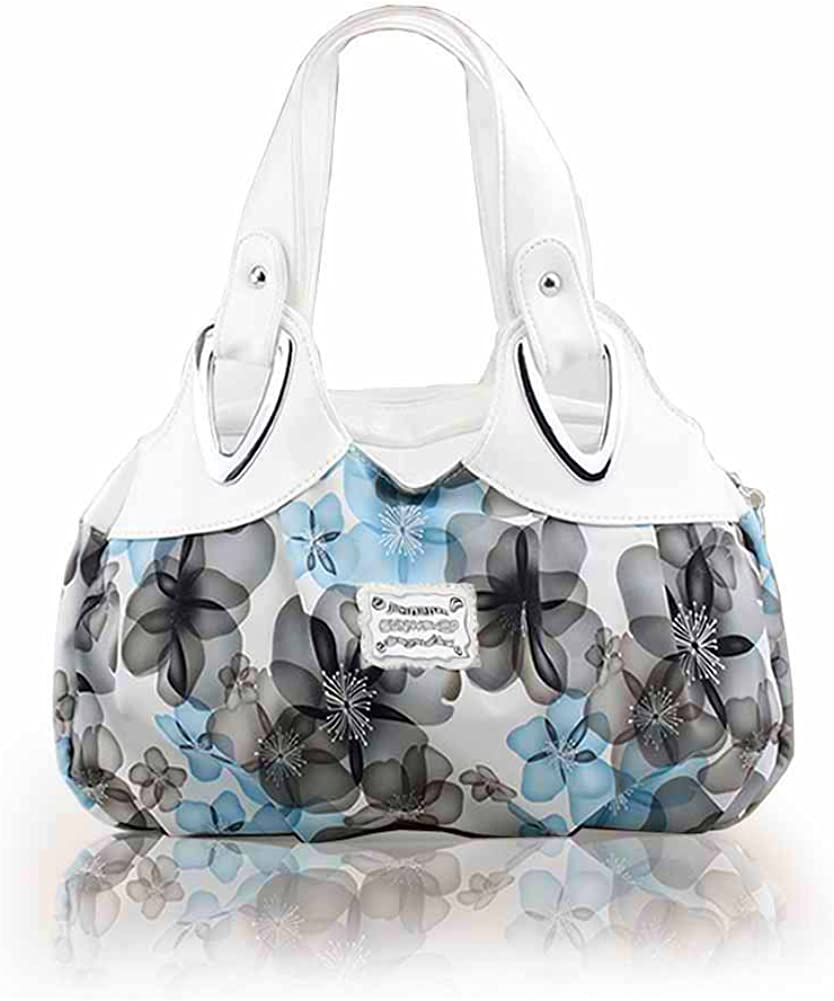 Panzexin Femme Sac à Main - Mlle loisir sac de poignet d'petit sac à main Blanc&bleu