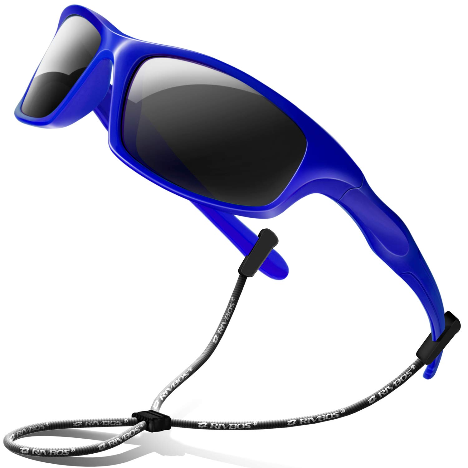 6a653fe1b Amazon.com: RIVBOS Rubber Kids Polarized Sunglasses With Strap Glasses  Shades for Boys Girls Baby and Children Age 3-10 RBK003 (003-2 Blue):  Clothing