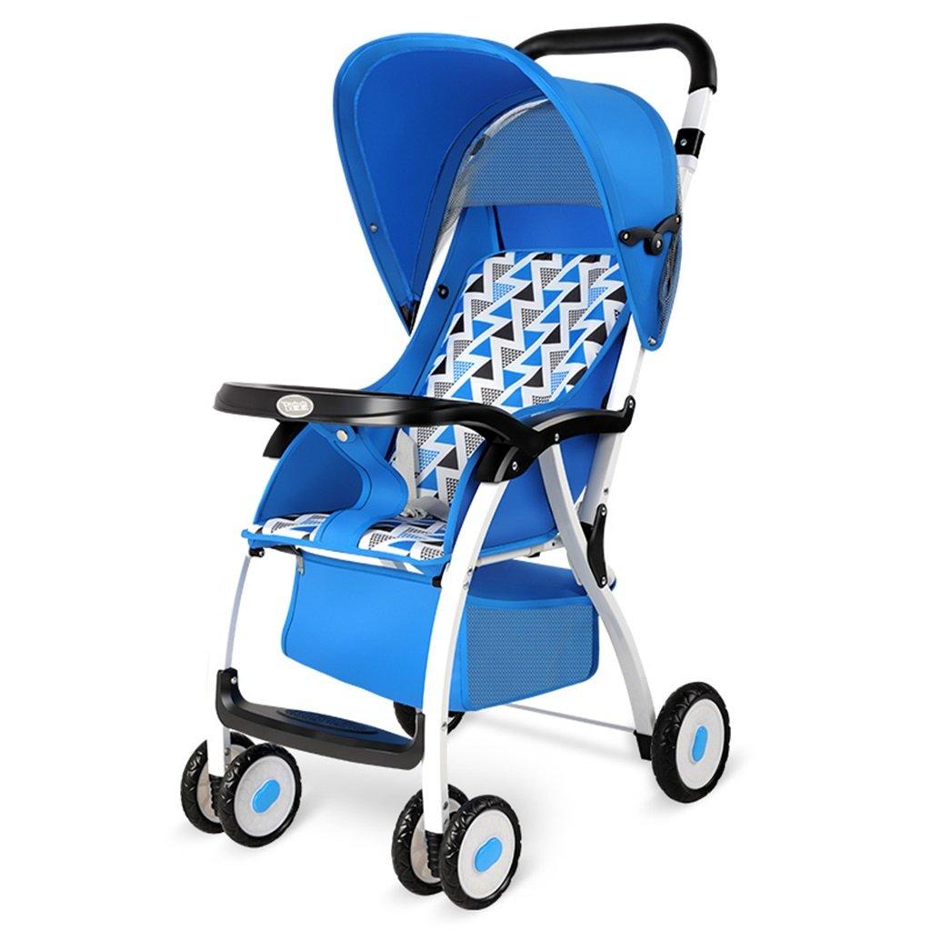 HAIZHEN マウンテンバイク 赤ちゃんカートアイロンフレーム布クッション折りたたみ可能な軽量ポータブル調節可能な日除け日保護アンチUVトロリーは座ることができます/赤ちゃんのキャリッジを嘘つきすることができます75 * 48 * 106センチメートル 新生児 B07DLCWWKX2