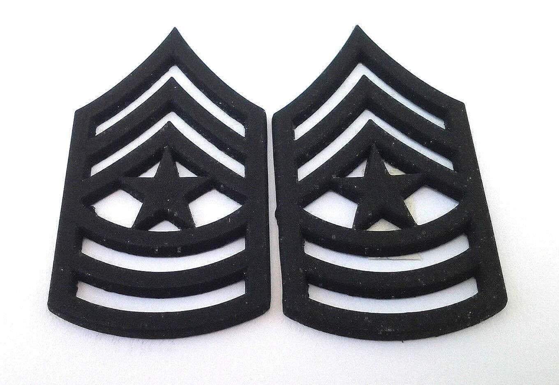 MAJ Military Veteran Hat // Collar Pins P12757 EE 2 US ARMY RANK E9 SGT 1 PAIR