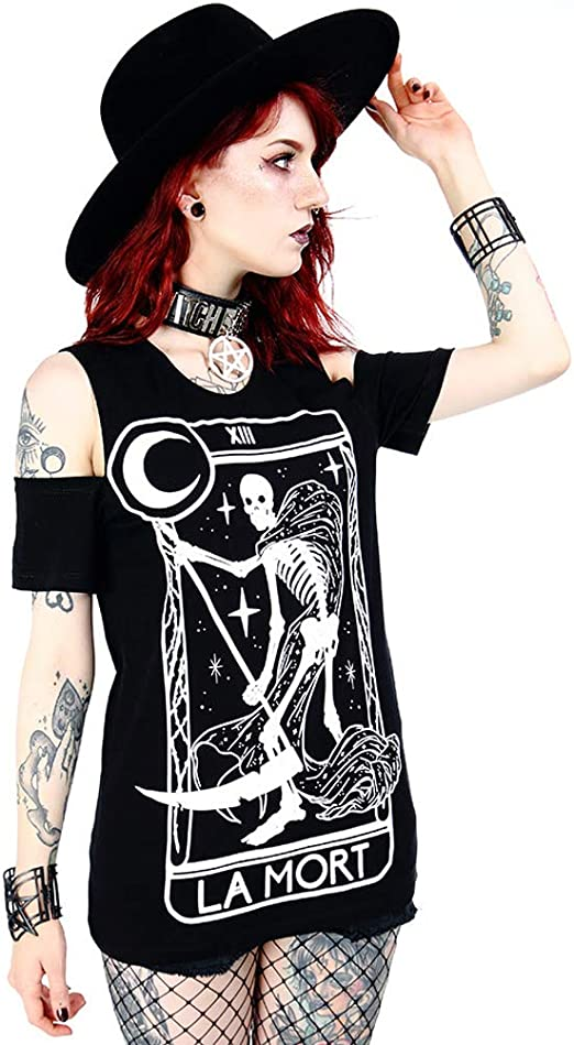 V-Neck with Choker Women/'s Short Sleeve Black T-Shirt Witchcraft Restyle