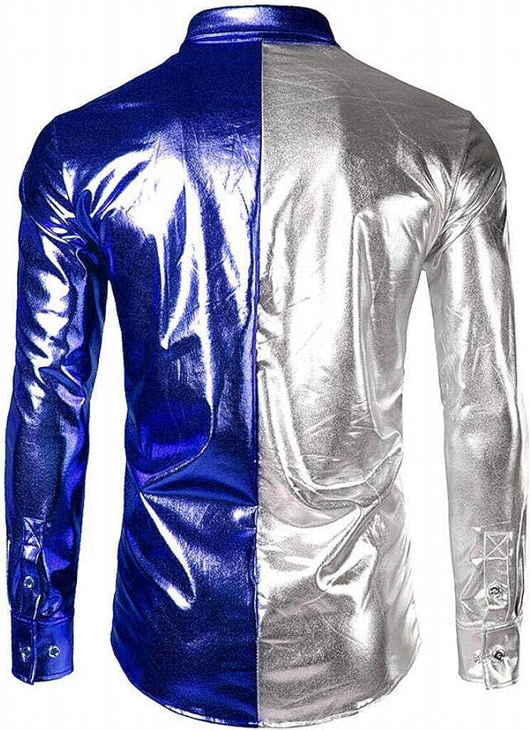 XTX Mens Bright Surface Long Sleeve Vogue Winter Club Color Block Button Down Shirts Tops