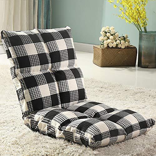 ZLMI Lazy Floor Sofa Lattice Tatami Foldable Single Small Sofa Bed Chair Adjustable,Black ()