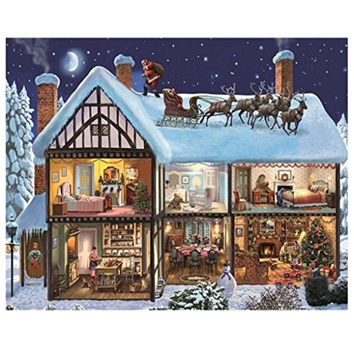 Santa Claus and Reindeer Diamond Painting Christmas and Halloween House Decoration and Gift Full Square Resin Rhinestone Diamond Needlework Handcraft Multi-Size (Picture Size28x35cm) -