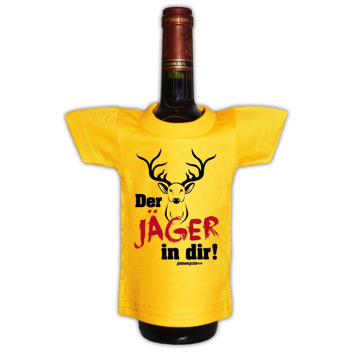 Goodman Design  Coole Deko und Geschenkverpackung für Flaschen / Weinflaschen : Der Jäger Flaschenshirt