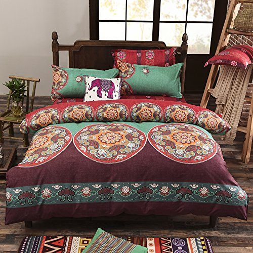 Vaulia Lightweight Microfiber Duvet Cover Set, Bohemia Exotic Patterns, Reversible Color Design, Full/Queen Size