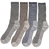 4 Pairs Mens or Womens Large Merino Wool Blend Walking Hiking Socks
