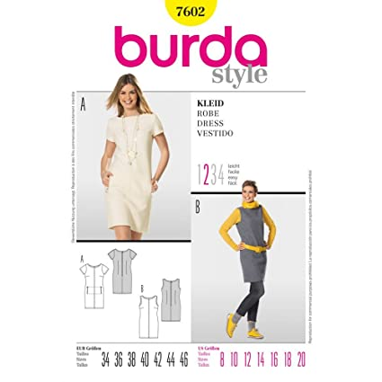 Amazon.com: Burda Ladies Simple Shift Dresses Sewing Pattern 7602 ...