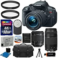 Canon EOS Rebel T5i 18.0 MP CMOS Digital Camera HD Video with EF-S 18-55mm f/3.5-5.6 IS STM Zoom Lens + EF 75-300mm f/4-5.6 III Telephoto Zoom Lens + Deluxe Case + Extra Battery Pack + 2 Filters with 32GB Memory Card Complete Deluxe Accessory Bundle Basic Facts Review Image