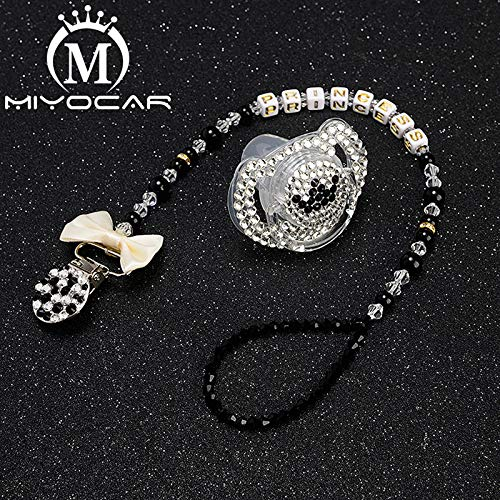 Amazon.com  MIYOCAR bling cool pacifier clip any name personalized pacifier  holder dummy clip with bling black white pacifier SP008  Handmade 70740fc4ce05