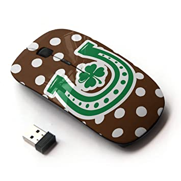 Amazon.com: FJCases Polka Dots Pattern Horseshoe Shamrock Luck (Baby Blue) 2.4 GHz Ergonomic Wireless Mouse (With Nano Receiver): Computers & Accessories