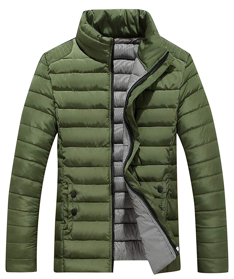 ARTFFEL Men Solid Warm Winter Thicken Full-Zip Casual Quilted Jacket Coat Outerwear