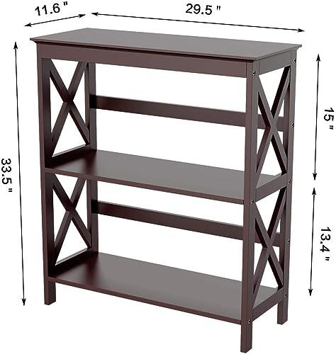YAHEETECH 3 Tier Bookcase X-Design Storage Bookshelf Wooden Displaying Rack Open Shelf Home Office Storage