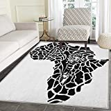 Safari Rug Kid Carpet Illustration of Africa Continent Map as Animal Skin Wilderness Species Print Home Decor Foor Carpe 3'x5' Black and White