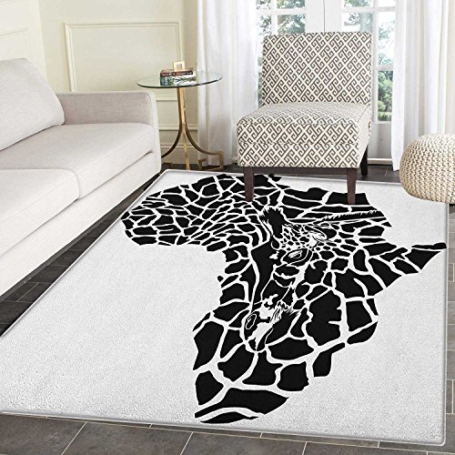 Safari Rug Kid Carpet Illustration of Africa Continent Map as Animal Skin Wilderness Species Print Home Decor Foor Carpe 3'x5' Black and White by smallbeefly