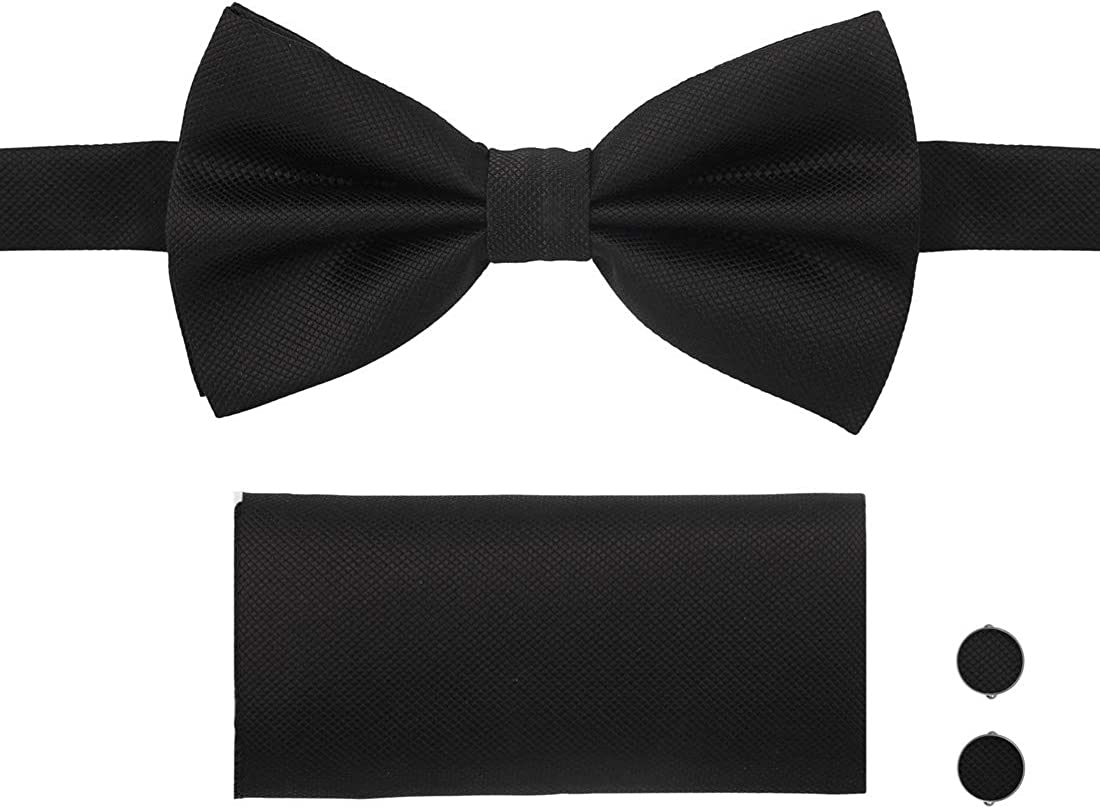Velvet ribbon Knitted BowTie Tunisian Crochet Men/'s Black Bow Tie Black Bow Tie Set Tie Clip Cord Macrame Cufflinks