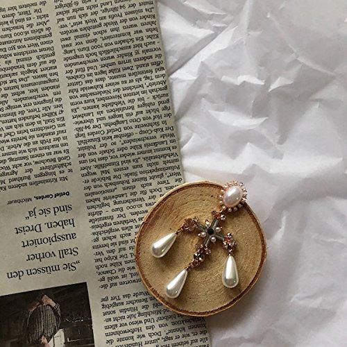 usongs Exaggerated elegant court style cross pearl earrings Luxury ()