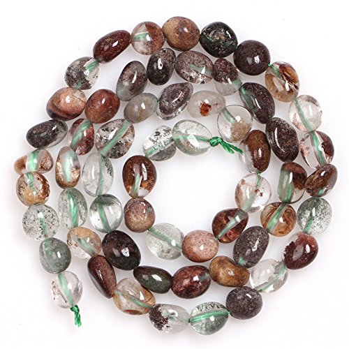 JOE FOREMAN 6x8mm Green Ghost Quartz Semi Precious Gemstone Freeform Potato Shape Loose Beads for Jewelry Making DIY Handmade Craft Supplies 15""
