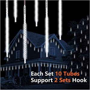 ohCome Meteor Shower Rain Drop Lights 50cm 10 Spiral Tubes 540 LEDs Waterproof Icicle Snowfall String Lights for Wedding Christmas Halloween Garden Tree Home Decor, Support 2 Sets Hook (White)