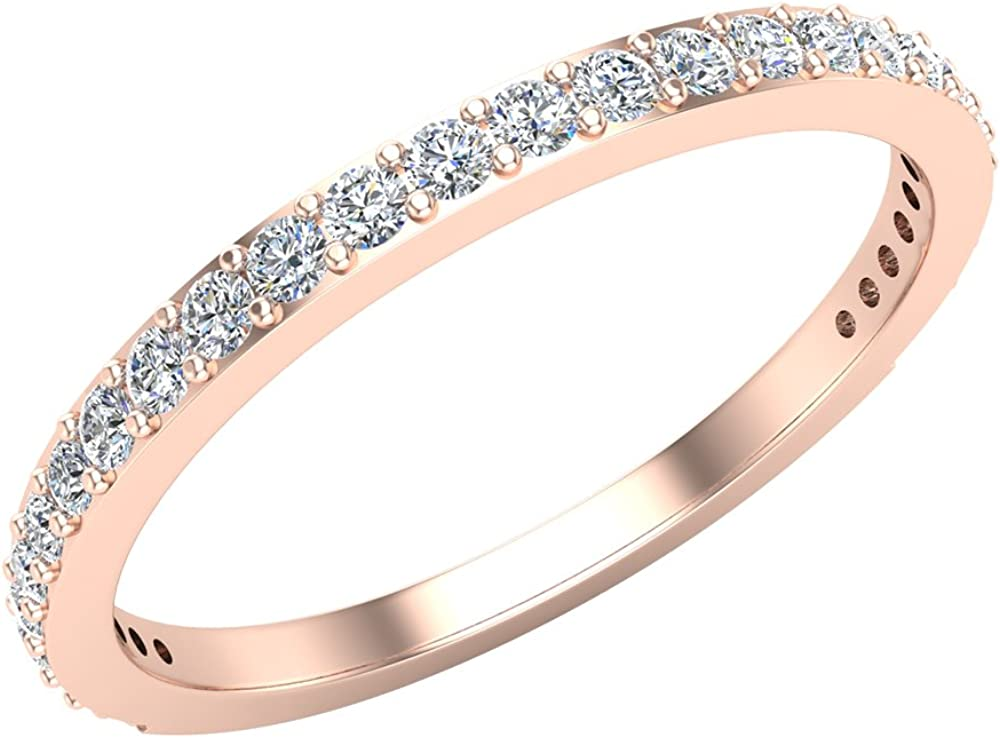 Diamond Wedding Band matching to Dainty Halo Engagement Ring 14K Gold 0.31 ct tw