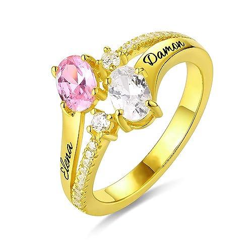 Godmoy Anillo Personalizado con Doble óvalo Personalizado Grabado para Ella con 2 Piedras de Nacimiento 2 Nombres Plata de Ley 925 / Oro/Oro Rosa: ...