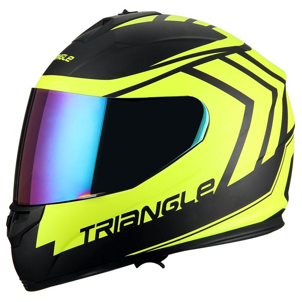 Triangle motorcycle full face dual Visor helmets (Medium, Matte Black/Yellow)