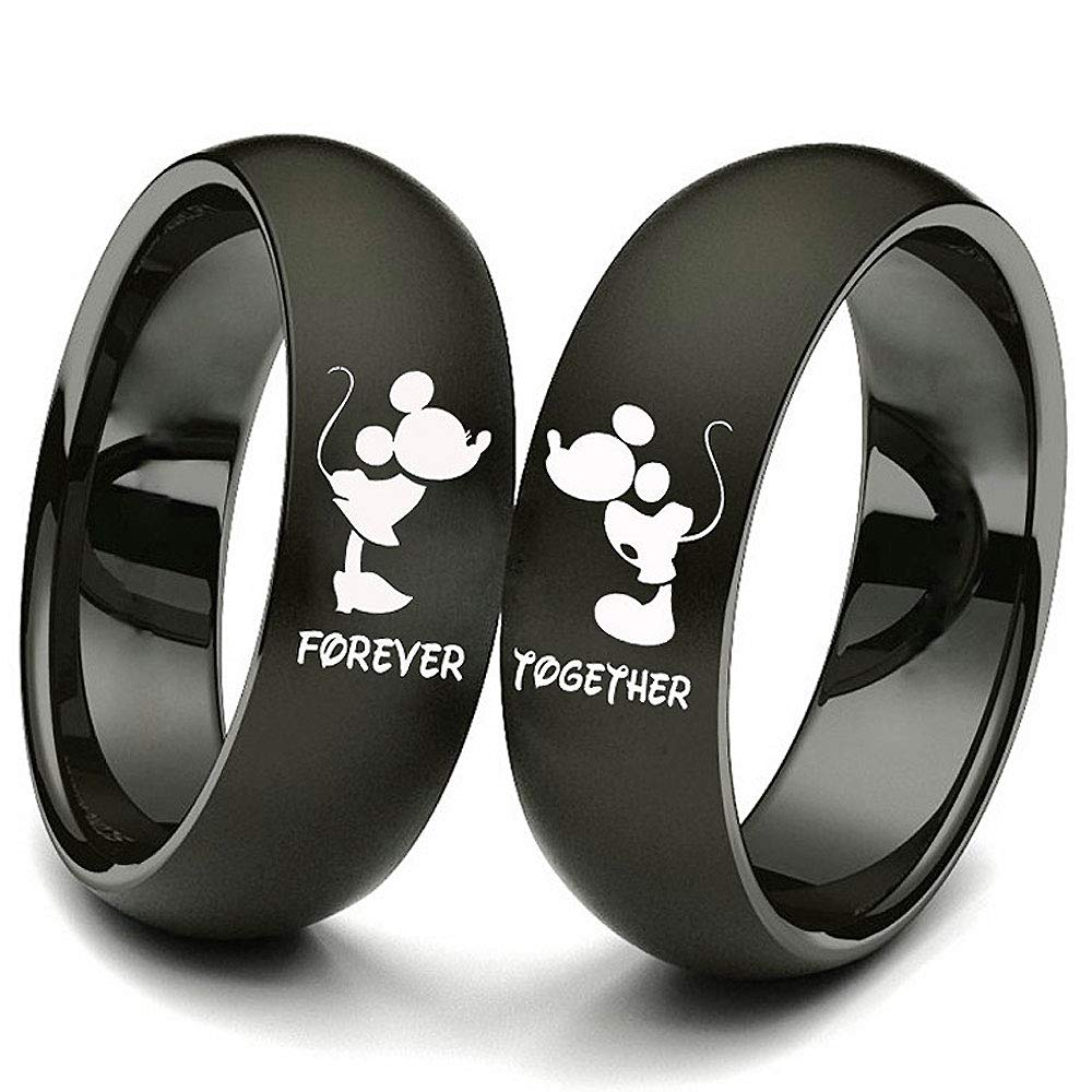 XAHH 2pc Matching Set His and Hers Couple Titanium Steel Rings Mickey Mouse Kiss Forever Together Promise Wedding Band Black