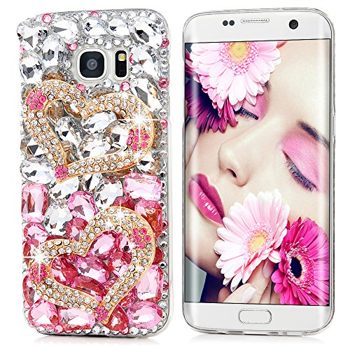 Mavis's Diary Galaxy S7 Edge Case 3D Handmade Luxury Bling Crystal Double Golden Love Heart Shiny Diamonds Glitter Pink Rhinestone Clear Hard PC Case Full Edge Cover for Samsung Galaxy S7 Edge