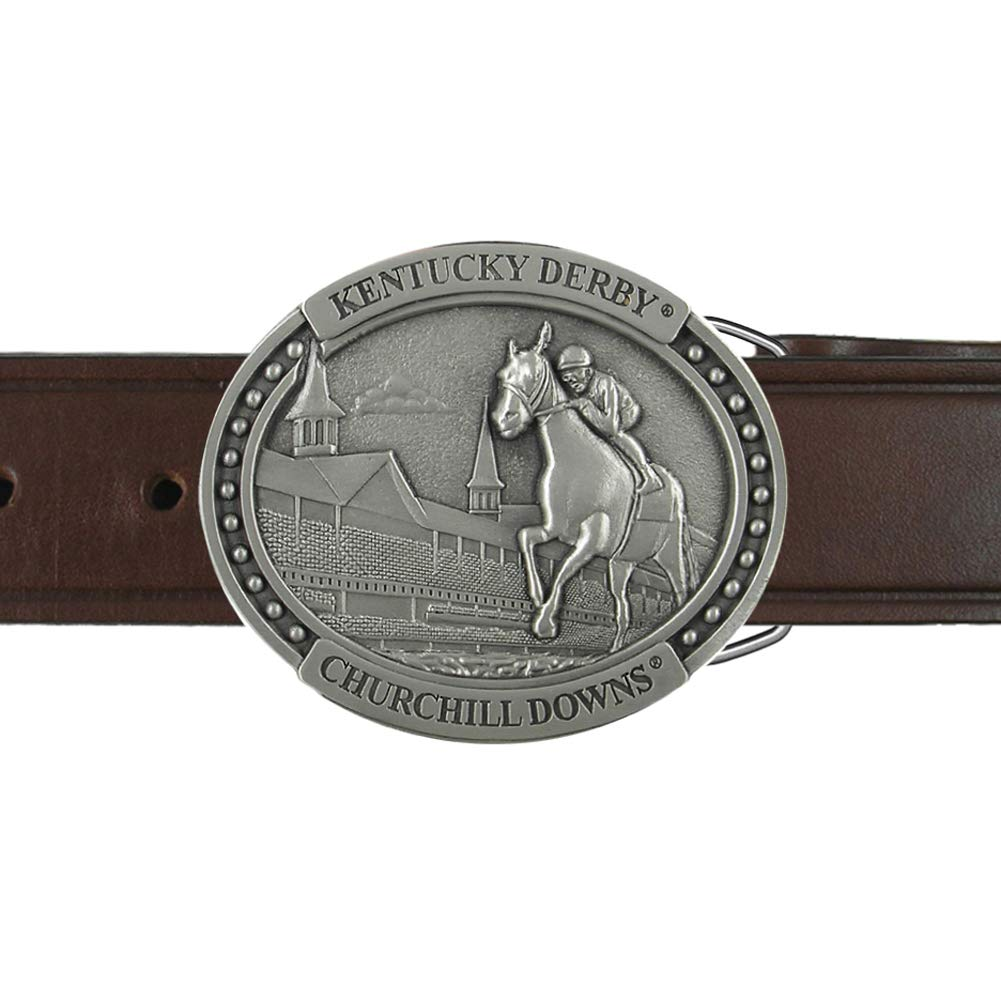 Indiana Metal Craft Kentucky Derby Churchill Downs Horse & Jockey Pewter Belt Buckle and Belt with 1.5'' Belt 28-42 Brown & Black (Brown, 28)