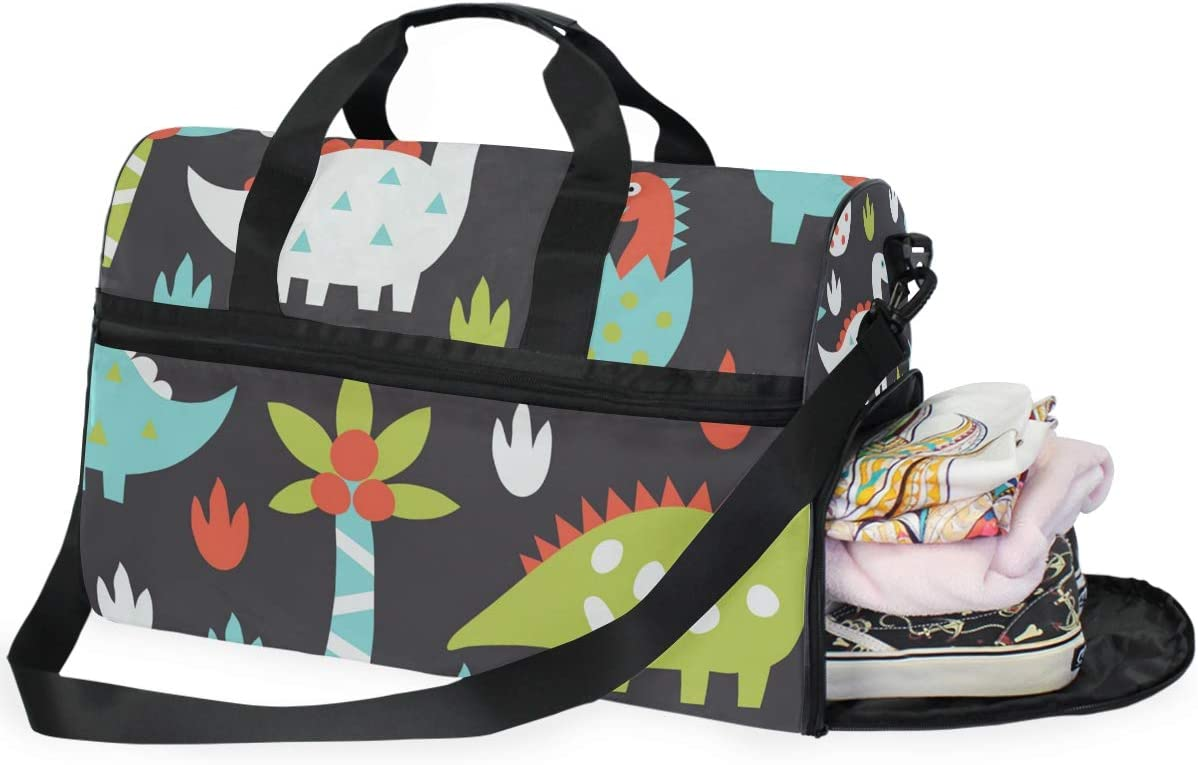 Dinosaur Cartoon Illustration Sports Gym Bag with Shoes Compartment Travel Duffel Bag for Men and Women